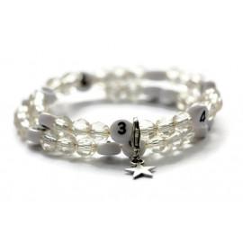 Bracelet d'allaitement de couleur écru - perles acrylique à facettes