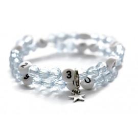 Bracelet d'allaitement de couleur bleu claire - perles acrylique à facettes