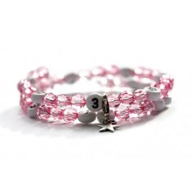 Bracelet d'allaitement de couleur rose - perles acrylique à facettes