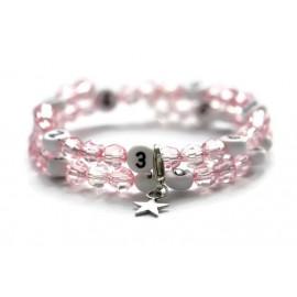 Bracelet d'allaitement de couleur rose claire - perles acrylique à facettes