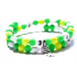 Bracelet d'allaitement de couleur vert et jaune - perles acrylique