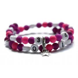 Bracelet d'allaitement de couleur violet et rose - perles acrylique