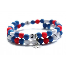 Bracelet d'allaitement de couleur bleu et rouge - perles acrylique