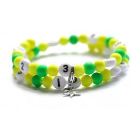 Bracelet d'allaitement de couleur jaune et vert - perles acrylique