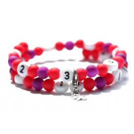 Bracelet d'allaitement de couleur rouge et violet - perles acrylique