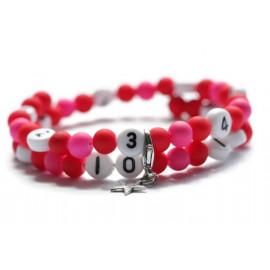 Bracelet d'allaitement de couleur rouge et rose - perles acrylique