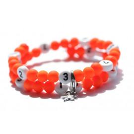 Bracelet d'allaitement de couleur orange flashy - perles acrylique