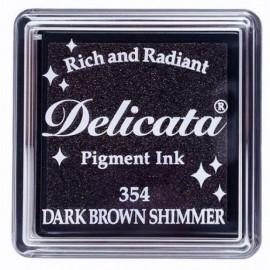 Encre Delicata marron foncé scintillant - 3 x 3 cm