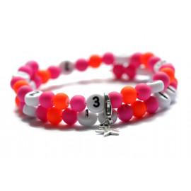 Bracelet d'allaitement de couleur rose et orange flashy - perles acrylique