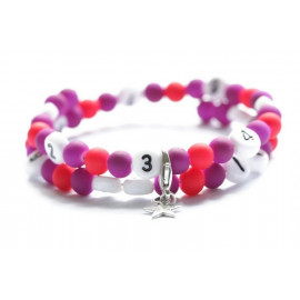 Bracelet d'allaitement de couleur violet et rouge - perles acrylique