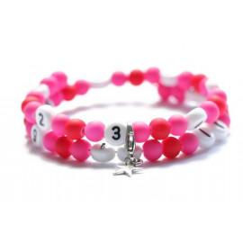 Bracelet d'allaitement de couleur rose et rouge - perles acrylique