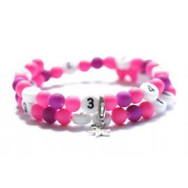 Bracelet d'allaitement de couleur rose et violet- perles acrylique