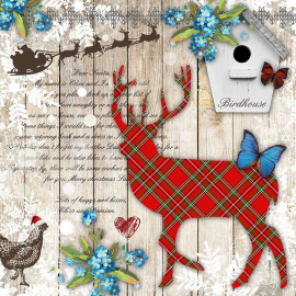 1 Serviette en papier - Lettre au Père Noël avec renne - 33 x 33 cm