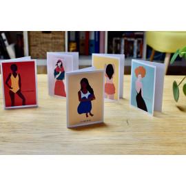 Lot 5 cartes portraits de femmes