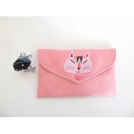 Pochette pour masque tissu en cuir végane rose