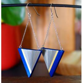 """Boucles d'oreilles Triangle Gris argent - Collection """"LES GRAPHIQUES"""""""