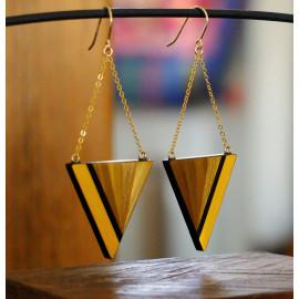 """Boucles d'oreilles Triangle Jaune - Collection """"LES GRAPHIQUES"""""""