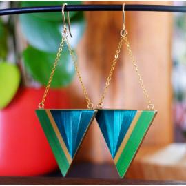 """Boucles d'oreilles Triangle Vert - Collection """"LES GRAPHIQUES"""""""