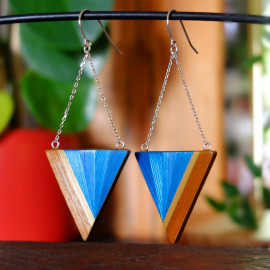 """Boucles d'oreilles Triangle Bleu - Collection """"LES GRAPHIQUES"""""""