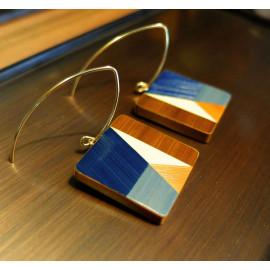 """Boucles d'oreilles Carré Bleu - Collection """"LES GRAPHIQUES"""""""