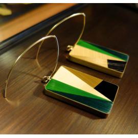 """Boucles d'oreilles Rectangle Vert - Collection """"LES GRAPHIQUES"""""""
