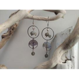 Boucles d'oreilles Labradorite et arbre de vie acier inoxydable