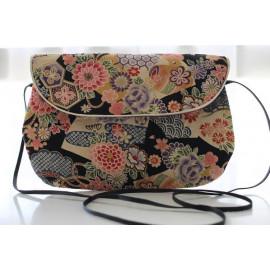 sac bandoulière grand modèle fleurs noires jap