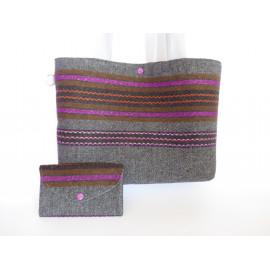 Sac bandoulière femme, laine, soie, coton