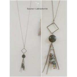 Sautoir Labradorite /acier inoxydable