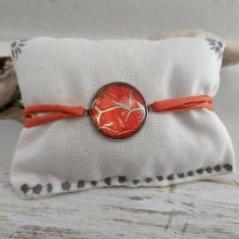 Bracelet cuir de poisson et soie habotai