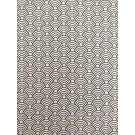 Tissu écailles blanche et noir - en coton certifié - vendu par 10cm
