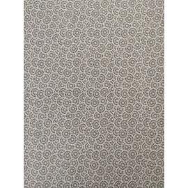 Tissu roues grise et blanche - en coton certifié - vendu par 10cm
