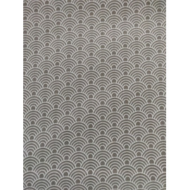 Tissu écailles grise et blanche - en coton certifié - vendu par 10cm