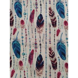 Tissu plumes bleu et rose - en coton certifié - vendu par 10cm