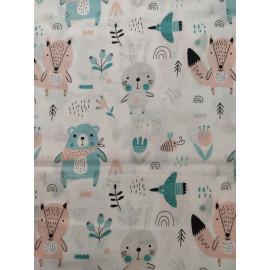 Tissu animaux de la forêt de couleur menthe et rose - en coton certifié - vendu par 10cm