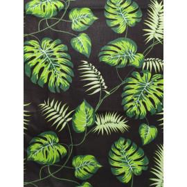 Tissu feuilles monstera de couleur verte - en coton certifié - vendu par 10cm