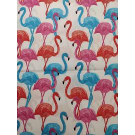 Tissu flamands rose, rouge et bleu - en coton certifié - vendu par 10cm