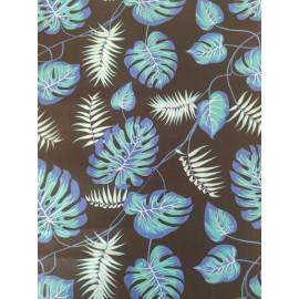 Tissu feuilles monstera de couleur bleu - en coton certifié - vendu par 10cm
