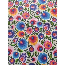 Tissu fleurs ou feuilles de couleur multicolore sur fond blanc - en coton certifié - vendu par 10cm