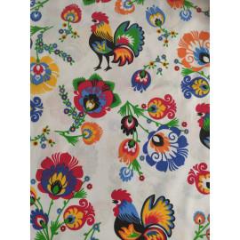 Tissu coqs et fleurs sur fond blanc - en coton certifié - vendu par 10cm
