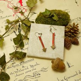 Boucles d'oreilles Flèches – Collection «Terre du Milieu» - Bijou littéraire en papier plié