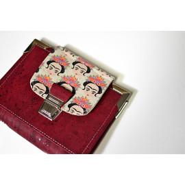 Pocket planner en liège végétal rouge Bordeaux & Frida kahlo, portefeuille et agenda de poche