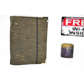 Planner A5 en liège végétal bois marbré et bleu canard, agenda de poche rechargeable