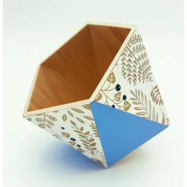 Vide-poches en bois origami bleu et nacre de soie