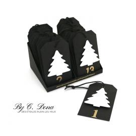 Calendrier de l'Avent - 24 étiquettes sapin avec présentoir - noir blanc doré