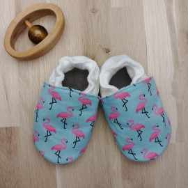 Chaussons Tissu et Cuir Turquoise Flamant Rose