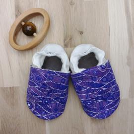 Chaussons Tissu et Cuir Violet Motif Japonais