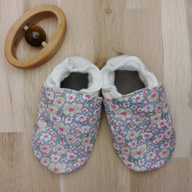 Chaussons Tissu et Cuir Liberty Rose