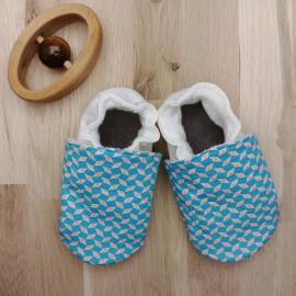 Chaussons Tissu et Cuir Bleu Motif Petit Pan