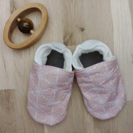 Chaussons Tissu et Cuir Asanoha Rose